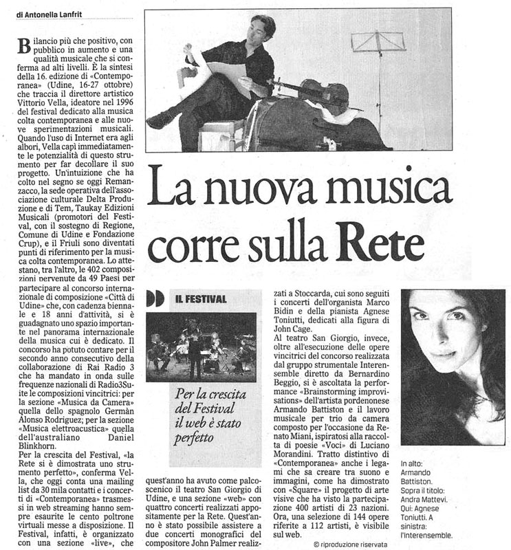 Looking East/Looking West, Gazzettino 28/10/2012