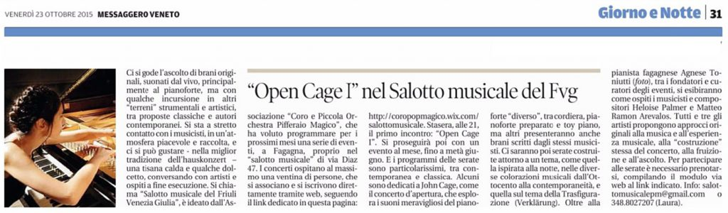 Open Cage I, Messaggero Veneto, 23/10/2015
