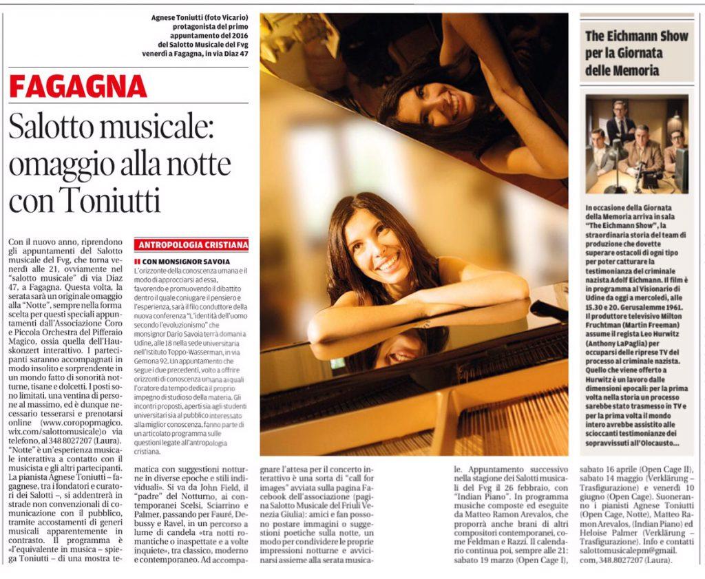 Notte, Messaggero Veneto, 25/01/2016