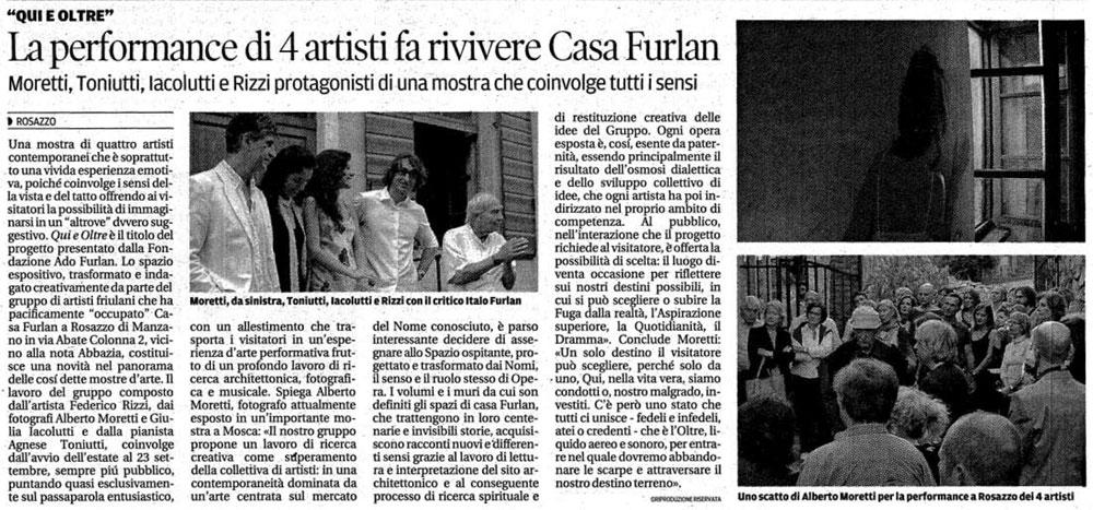 Z3T - Qui e oltre, Messaggero Veneto 18/09/2012