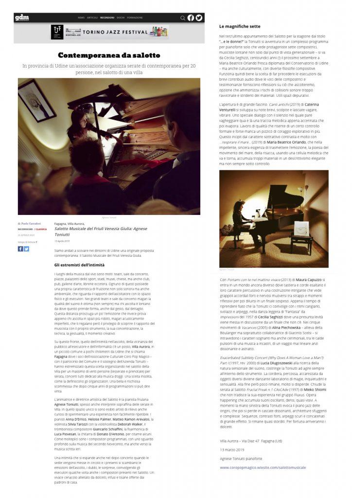 Il Giornale della Musica, 19/4/2019