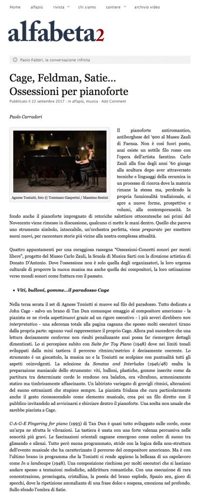 Ossessioni, Alfabeta2, 22/09/2017